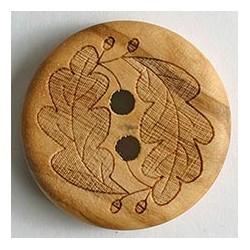 Holzknopf Eichenblatt buche- braun, 23 mm  - Dill