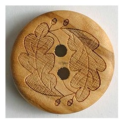 Holzknopf hellbraun Eichenblatt - Dill 23 mm