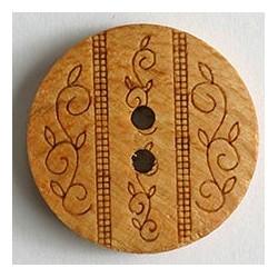 Holzknopf verziert, buche- braun, 23 mm - Dill_10008