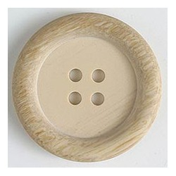 Polyesterknopf beige- holzoptik, 23 mm - Dill