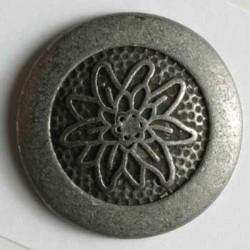Edelweiss rund Vollmetallknopf 23 mm - Dill