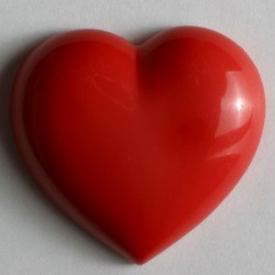 Kinderknopf Herz mit Öse rot, 14 mm - Dill