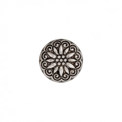 Polyesterknopf Blume, metall mit Öse 18 mm - Union Knopf_14337