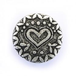 Metallknopf Herz mit Öse 23 mm - Union Knopf_14339