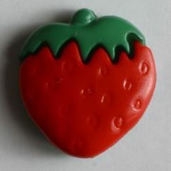 Knopf Erdbeere rot, mit Öse 15 mm - Dill