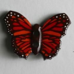 Knopf Schmetterling rot, 28 mm - Dill