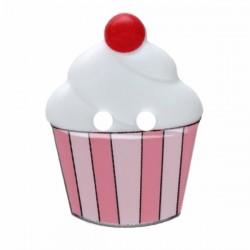 Kinderknopf Cupcake weiss/rosa  20 mm  - Dill_15651