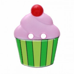 Kinderknopf Cupcake rosa/grün  20 mm  - Dill_15652