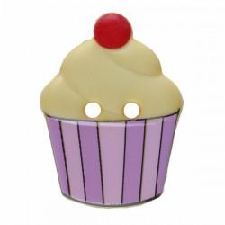 Kinderknopf Cupcake gelb/lila  20 mm  - Dill_15654
