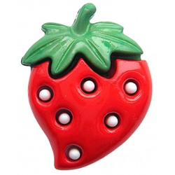 Erdbeere rot, mit Öse 25 mm - Union Knopf_17002