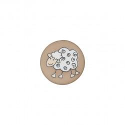 Schaf Knopf mit Öse mocca, 15 mm - Union Knopf