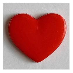 Kinderknopf Herz rot 13 mm  - Dill_17731