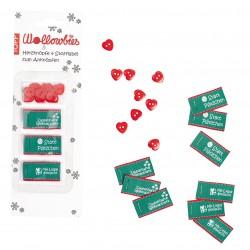 Wollowbies Label und Knöpfe Weihnachten