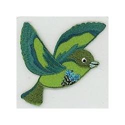 Vogel fliegend grün-petrol-türkis