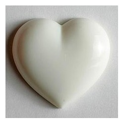 Kinderknopf Herz mit Öse weiss 14 mm - Dill