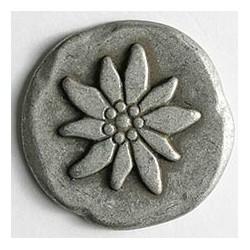 Metallknopf Edelweiss, altsilber matt, 20 mm  - Dill_9109